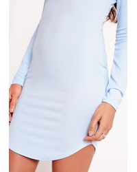 Missguided Long Sleeve Plunge Bodycon Dress Powder Blue