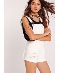 Missguided - Distressed Denim Dungaree Shorts White - Lyst