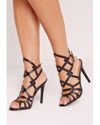 Missguided | Laser Cut Strappy Heeled Sandals Black | Lyst