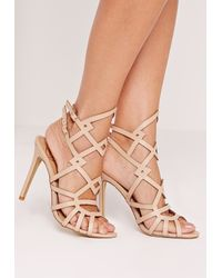 Missguided - Multicolor Laser Cut Strappy Heeled Sandal Nude - Lyst