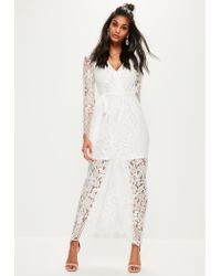 81f163a8a5 Missguided White Lace Wrap Tie Front Maxi Dress in White - Lyst
