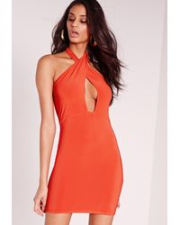 Missguided - Slinky Cross Neck Bodycon Dress Orange - Lyst