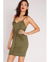 Missguided - Green Tie Waist Bodycon Dress Khaki - Lyst