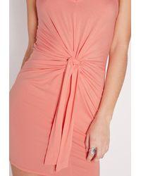 Missguided - Orange Tie Waist Bodycon Dress Pink - Lyst