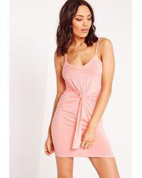 Missguided - Tie Waist Bodycon Dress Candy Pink - Lyst