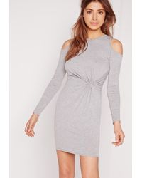 Missguided - Gray Twist Front Cold Shoulder Bodycon Dress Grey - Lyst