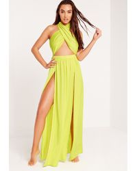 Missguided Multicolor Abad X Halter Neck Maxi Beach Dress Green