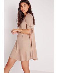 Missguided - Pink Tie Short Sleeve Swing Dress Nude - Lyst