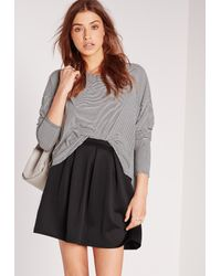Missguided - Scuba Skater Mini Skirt Black - Lyst