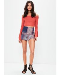 Missguided Red Tile Print Wrap Over Skort