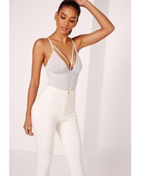 Missguided Gray Strap Harness Detail Bodysuit Grey