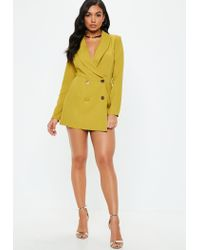 Missguided Yellow Chartreuse Tailored Military Button Romper