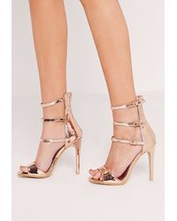 Missguided Multicolor Buckle Three Strap Barely There Heeled Sandals Rose Gold