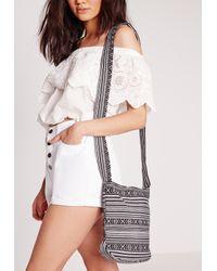 Missguided - Gray Festival Stripe Cross Body Bag Black - Lyst