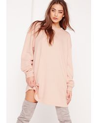 Missguided Pink Oversized Sweater Dress Nude
