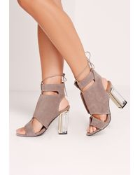 Missguided Gray Perspex Block Heel Lace Up Sandals Grey