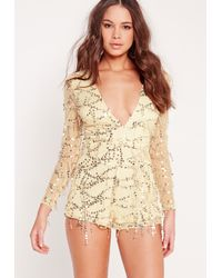 Missguided Metallic Sequin Long Sleeve Plunge Romper Gold