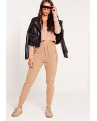 Missguided Natural Zip Detail Joggers Nude