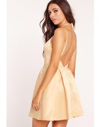 Missguided Natural Harness Strap Skater Dress Champagne