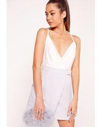 Missguided - Slinky Cowl Neck Bodysuit White - Lyst