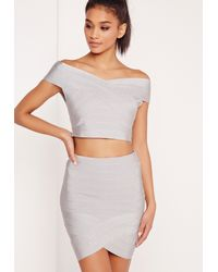 Missguided Gray Premium Bandage Wrap Mini Skirt Silver