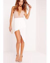 Missguided - White Slanted Wrap Skirt Cream - Lyst