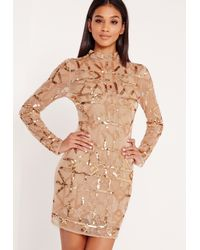 Missguided Metallic Premium High Neck Embellished Bodycon Dress Gold