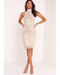 Missguided Multicolor Premium Sleeveless Beaded Bodycon Dress Nude