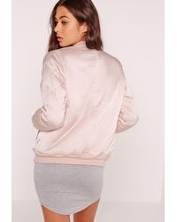 Missguided Satin Quilted Sleeve Bomber Jacket Pale Pink