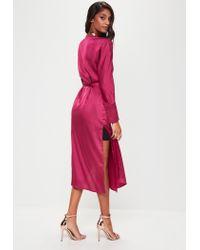 Missguided | Pink Tie Belt Wrap Duster Jacket | Lyst