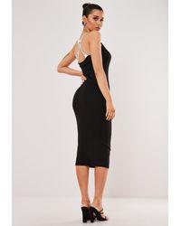 Missguided Black Elastic Cross Strap Ribbed Midaxi Dress