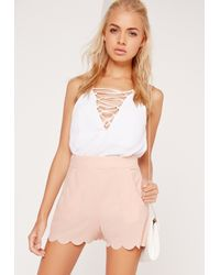 Missguided White Scallop Edge Crepe Shorts Pink