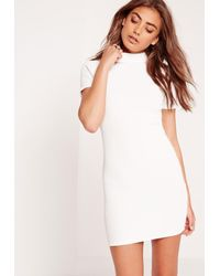 Missguided - Petite Wrap Back Ribbed Bodycon Dress White - Lyst