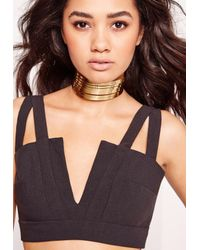 Missguided | Metallic Metal Layered Choker Necklace Gold | Lyst