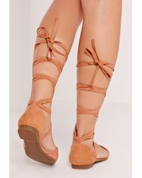 Missguided D'orsay Ballerina Tie Ankle Strap Shoe Pink