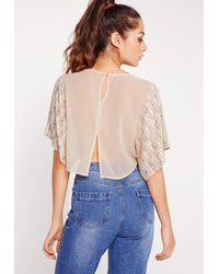 Missguided - Multicolor Embellished Sequin Crop Top Nude - Lyst