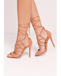 d6dbf71c0e0cc5 Lyst - Missguided Curved Strap Wrap Around Heeled Sandals Blush Pink ...