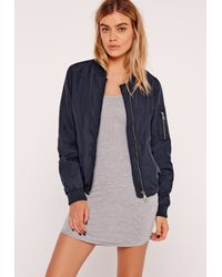 0a3052d1c40 Lyst - Missguided Lightweight Zipped Sleeve Pocket Bomber Jacket ...