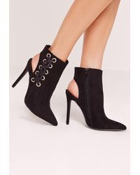 Missguided   Black Faux Suede Cross Strap Heeled Ankle Boots   Lyst