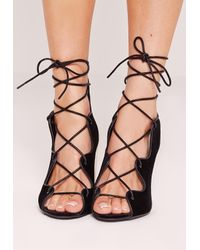 Missguided Wavy Lace Up Block Heel Sandals Black