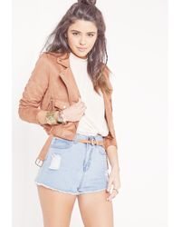 Missguided Multicolor Faux Suede Biker Jacket Rust