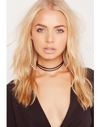 Missguided - Double Layer Faux Leather Choker Necklace Black - Lyst