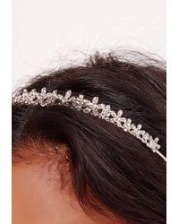 Missguided - Metallic Diamante Hair Band Silver - Lyst