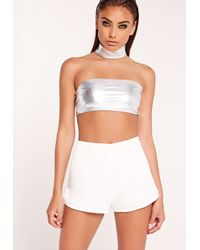 Missguided White Metallic Bandeau Bralette Silver