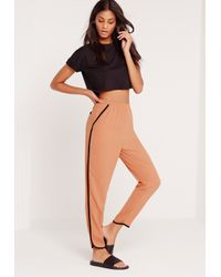 Missguided Black Piped Cigarette Pants Blush