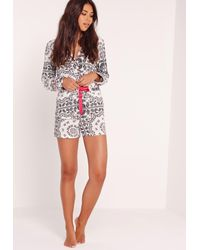 Missguided | Paisley Print Pyjama Set White | Lyst