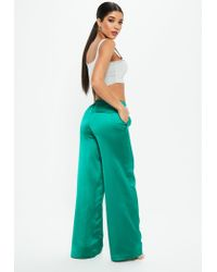 Missguided - Green Satin Wide Leg Tie Waist Trousers - Lyst