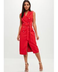 Missguided Red Belted Blazer Dress