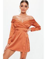 Missguided Orange Rust Satin Bardot Tie Mini Dress