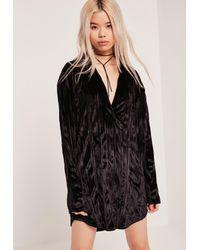 Missguided Velvet Oversized Shirt Dress Black